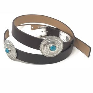 BCBGeneration Boho Brown Turquoise Concho  Belt M